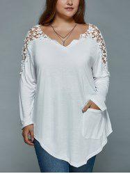 Oversized Sweet Crochet Spliced Blouse For Women in Green | Sammydress.com Mobile
