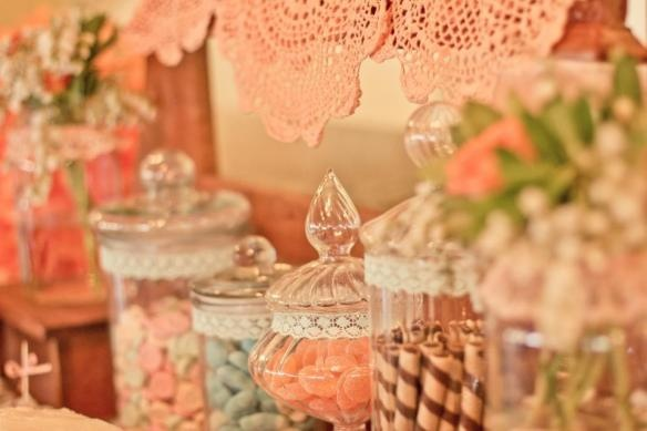 Anna's Perfect Parties | Vintage Lolly Buffet, Sweet Buffet, Apothecary Jars, Lace Doilies | Featured on A Darling Affair