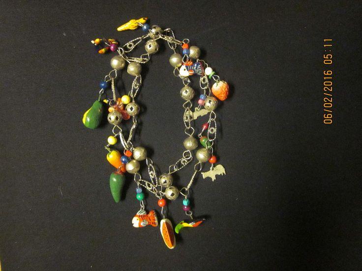 Vintage Mexico Silver Link – Paper Mache Animals Birds Fish Fruit Salad Necklace