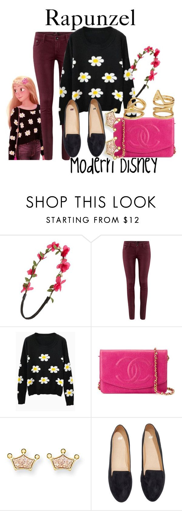 """Modern Rapunzel"" by disneyandsuch ❤ liked on Polyvore featuring Capelli New York, Merida, H&M, Chanel, Kevin Jewelers, Forever 21, modern, disney, tangled and WhereIsMySuperSuit"