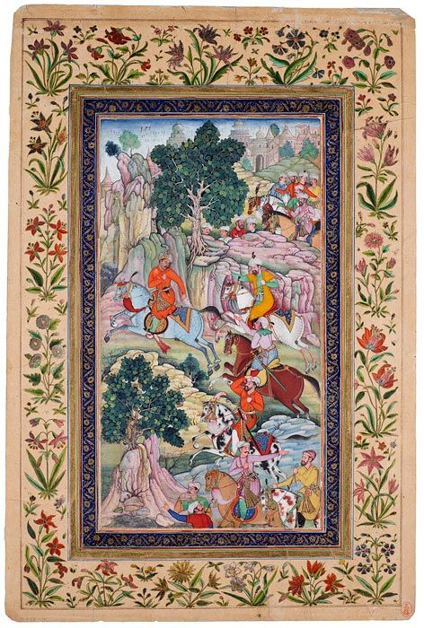 """Babur and Two Companions Racing During Their 1501-2 Flight from Samarqand. According to Bābur, when he looked back to see how far Qambar-˓Alī and Qasim Beg were behind him, his girth strap snapped, causing him to fall on his head. """"Although I stood up immediately and got back on,"""" he wrote, """"my brain did not return to normal until that evening."""" This miniature is probably by the artist Parasa, to whom four others in the British Library's manuscript have been attributed."""