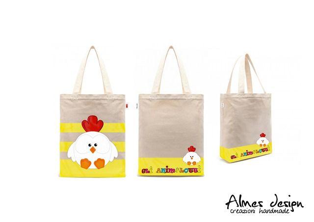 shopper bag- shopper with print - grafica gallina - almesdesign - handmade -