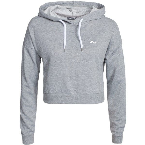 Only Play Onplavina Cropped Sweat (€32) ❤ liked on Polyvore featuring tops, hoodies, sweatshirts, jumpers & cardigans, light grey melange, sports fashion, womens-fashion, cropped sweatshirt, hooded crop top and hooded sweat shirt