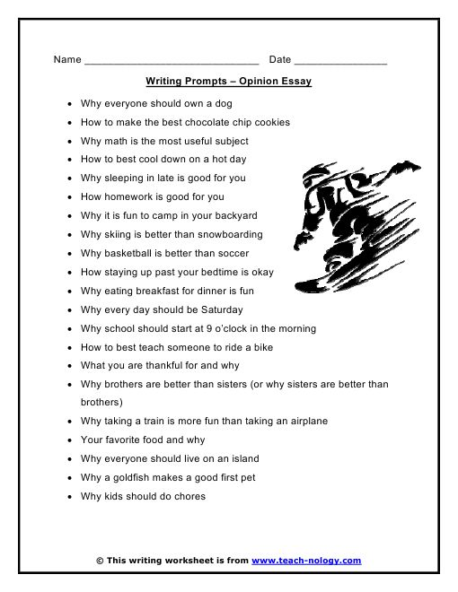Topics of creative writing