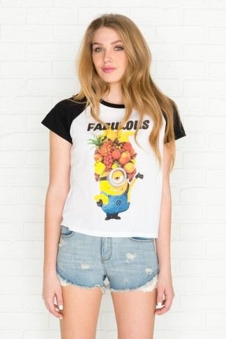White Fabulous Minion with fruit hat raglan t-shirt - Minions