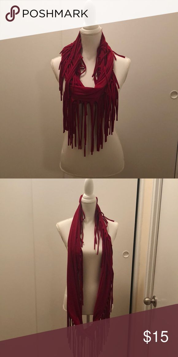 Red Jersey Material Infinity Scarf with Tassles Red Jersey Material Infinity Scarf with Tassles  EUC Accessories Scarves & Wraps