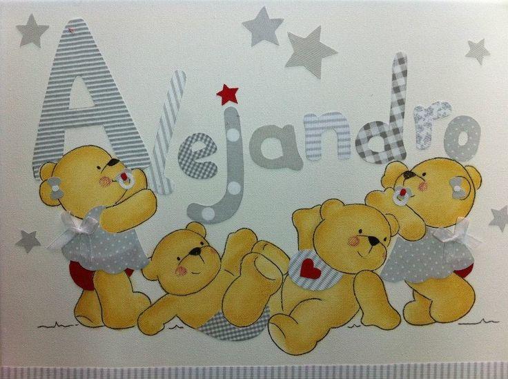 Cuadro infantil, osos por el suelo , en grises con un toque de rojo