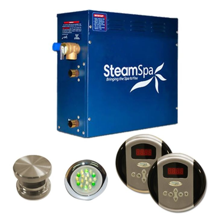 SteamSpa RY450 Royal 4.5 kW Steam Generator Package Brushed Nickel Steam Showers Steam Generators Residential