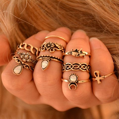 Channel your inner Boho chic with this vintage-style ring set. Featuring popular…