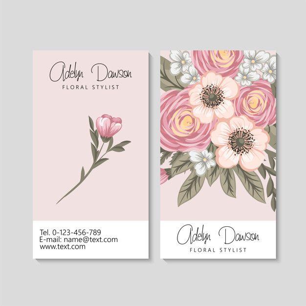 Baixe Cartao De Visita Com Modelo De Belas Flores Gratuitamente Floral Business Cards Business Card Design Minimal Download Business Card