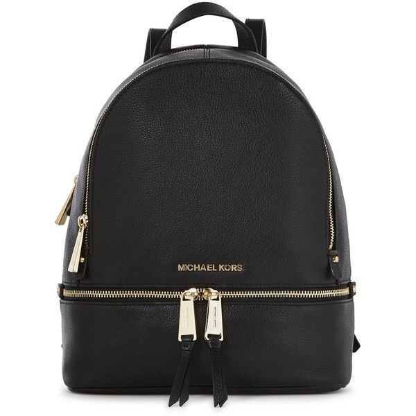 Michael Kors Rhea Small Black Leather Backpack ($165) ❤ liked on Polyvore featuring bags, backpacks, backpack, michael kors, black bag, leather knapsack, leather rucksack, black backpack and michael kors bags