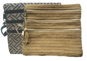Zarat Purse available in Natural and Black/Natural - 3 zips in the front and one zip in the back.