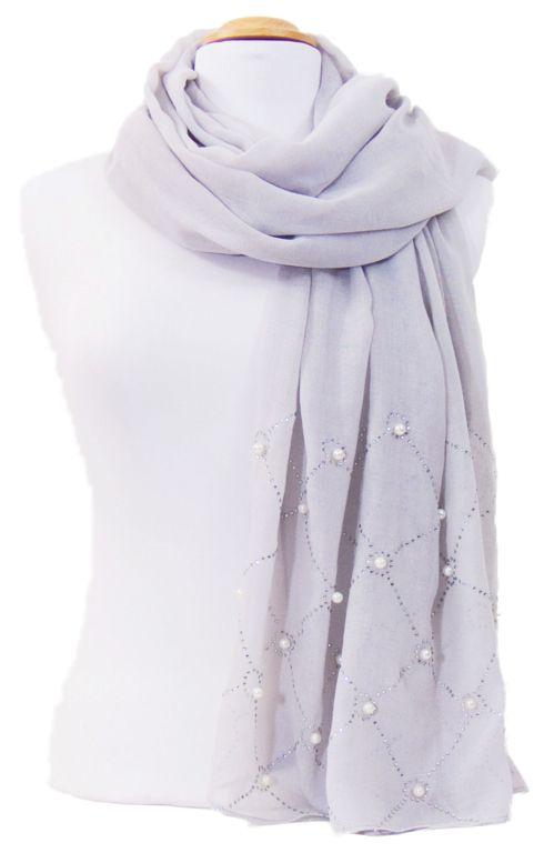 Foulard gris strass et perles. Découvrez sur mesecharpes.com + de 150  foulards chèches c94e90ec03e