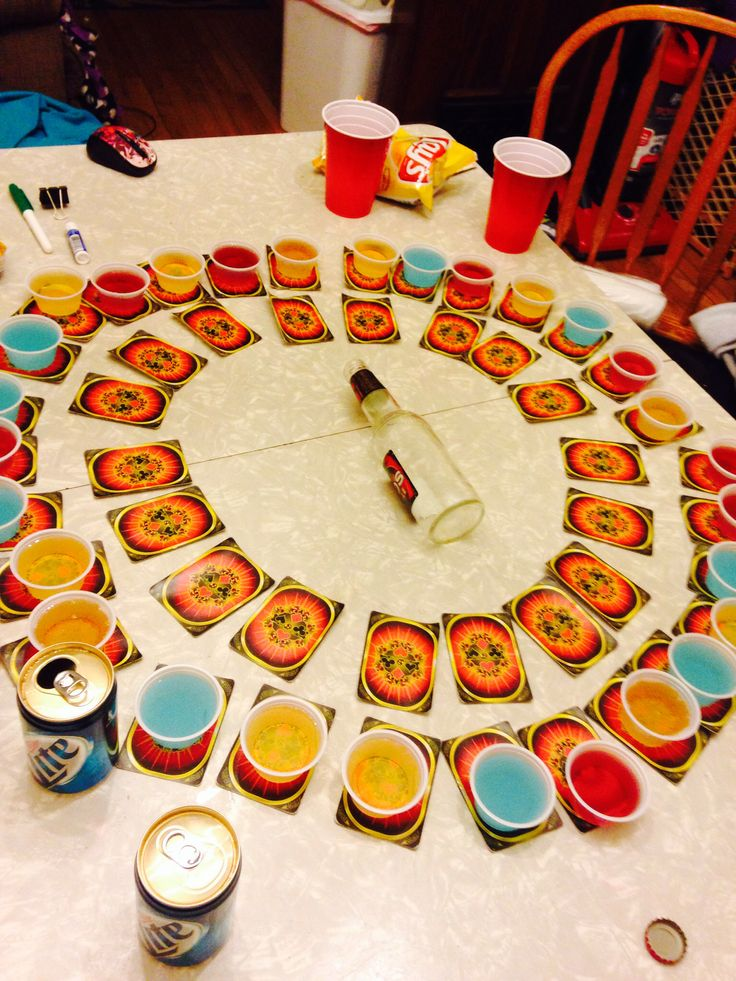 This drinking game is: spin the bottle + Circle of Death (minus kings  jokers).... Rules: put deck of cards under shots, spin bottle to choose a shot. You take the shot then flip the card  do the rule (Google Circle if Death rules... May vary). The inner circle if cards is for when the shots disperse :)