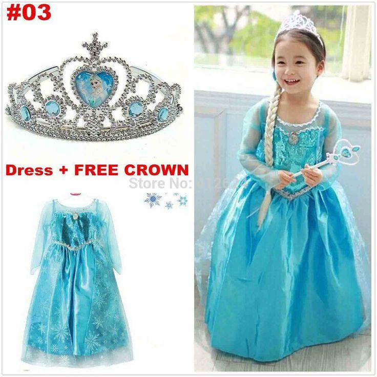 Koop 1 krijg 1 jurk mooie kroon!! Meisjes partij kostuum bevroren elsa anna jurk mode jurk prinses jurk voor kinderen cloting