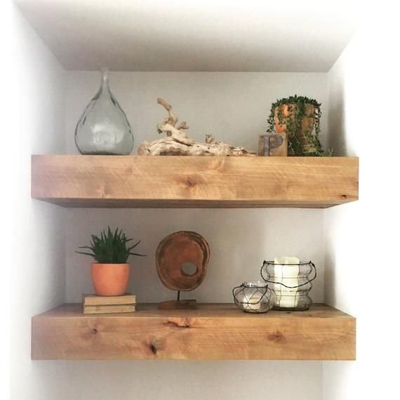 Set Of Two Modern Rustic Floating Deep Shelves Floating Shelves Floating Shelf Deep Floating Shelf Wood Shelf Kitchen Shelf Floating Shelves Wood Shelves Kitchen