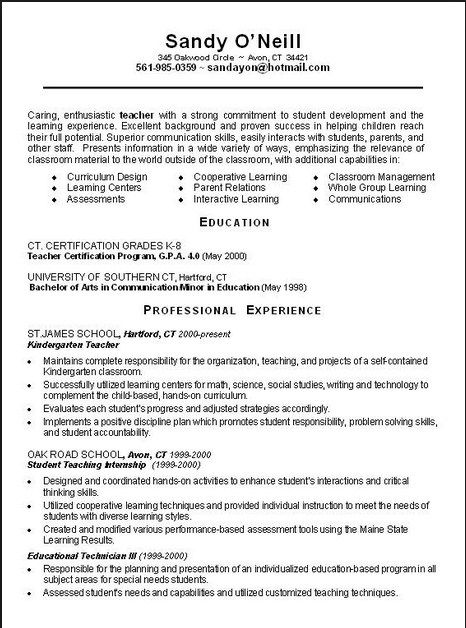 Examples Of Teachers Resumes | Example Resume And Resume Objective
