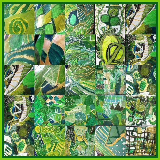 Een kleur-collage: iedereen krijgt een klein vierkantje stevig papier en vult dat met één kleur. Tekenen of scheuren uit tijdschriften. Leuk groepswerk!