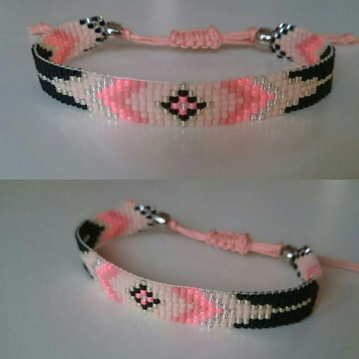 Flamingo peachy silver black bracelet, made with love