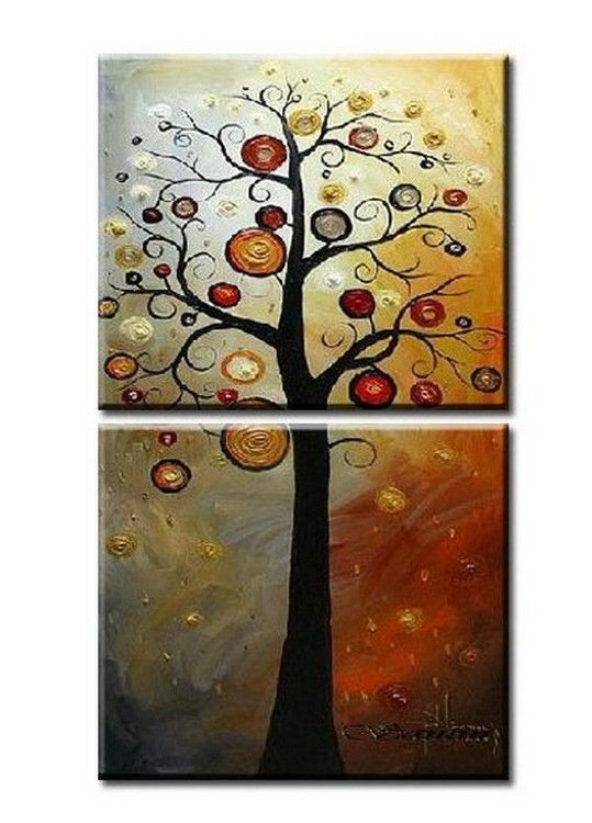 Canvas Painting, Colorful Tree, Heavy Texture Art, Abstract Art, Abstract  Painting, Part 46