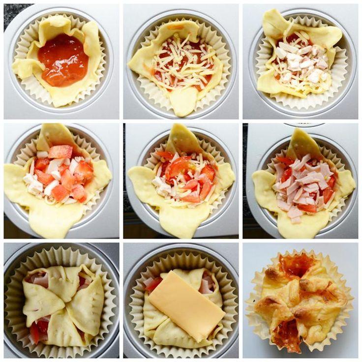 Foto: Heel gemakkelijk pizza muffins maken! Lekker voor als hapje bij de borrel!. Geplaatst door byAranka op Welke.nl