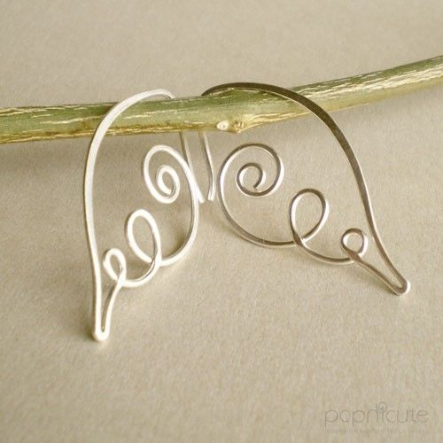 Handmade Angel Wing Earrings in 20 gauge - Argentium Silver Hoops