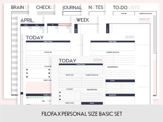 Filofax PERSONAL Basic Set Printable Inserts Refills (also fits kikki.K Time Planner MEDIUM) - Undated (Audrey Collection)