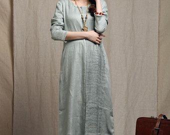 Tunica di lino abito grigio  Custom Made di camelliatune su Etsy