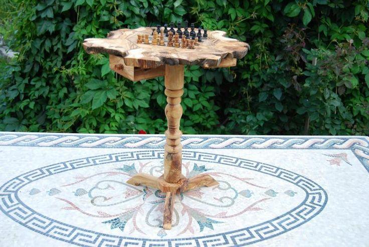Schachtisch Schachspiel aus Olivenholz - 45x45 Cm
