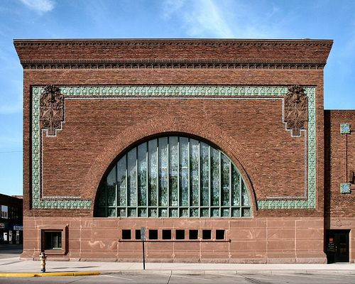 National Farmers' Bank (1908) in downtown Owatonna, Minnesota was designed by Louis Sullivan.