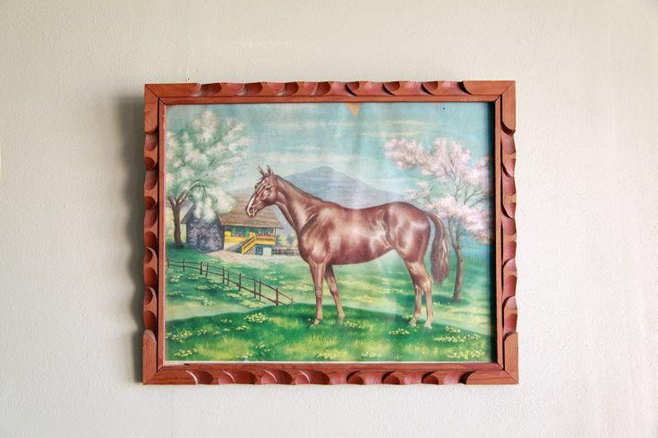 Vintage Southwestern Framed Horse Print