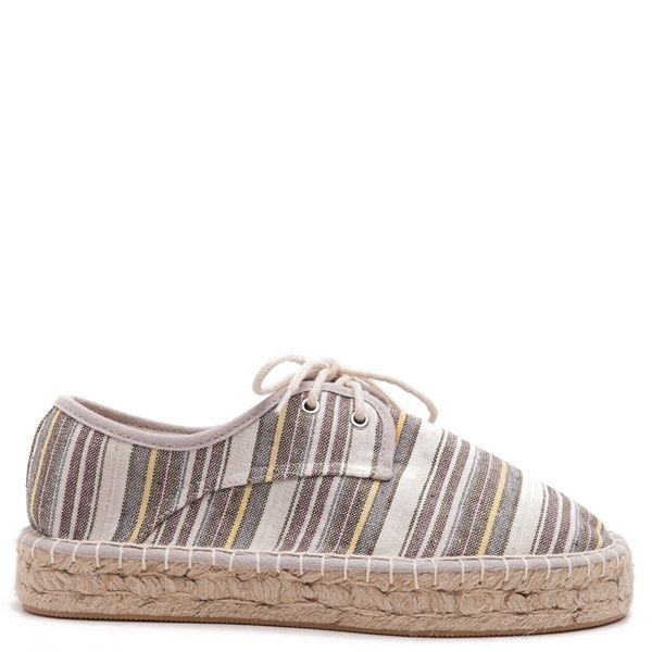 Multi-coloured striped espadrilles in brown, yellow, white and grey colour, with white laces and double rope sole.
