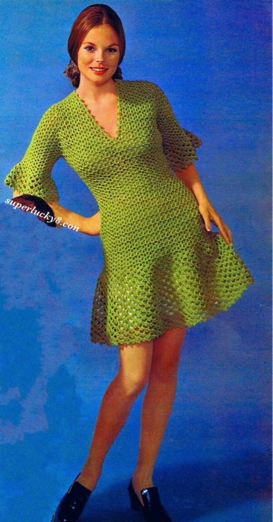 Crochet PDF pattern , Vintage Dress crochet pattern  #0157