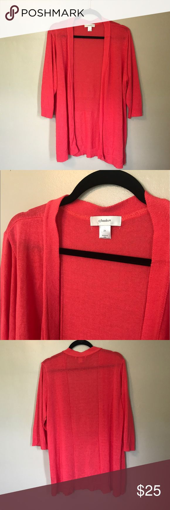 CJ Banks Coral Sweater Cardigan 2X Plus Great condition. Smoke free, pet friendly home. Christopher & Banks Sweaters Cardigans