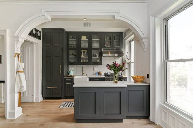 Grey kitchen in a Brooklyn townhouse