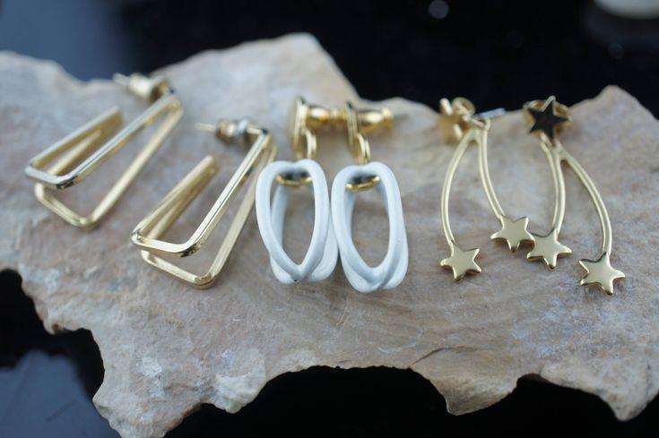 Earrings Vintage pierced stud earrings set of 3 pair Stars 3D rectangle 3D oval white enamel  Art Deco Jewelry circa minimalist sa156 by VintageEstate86 on Etsy