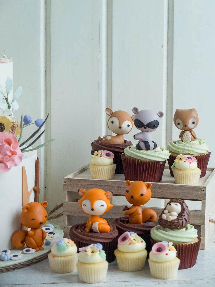 Super cute kawaii cupcake animal figure toppers Woodland Chic   Cottontail Cake Studio   Sugar Art & Pastries