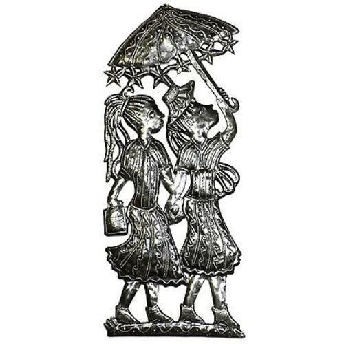 Two Girls with Umbrellas Metal Wall Art Handmade and Fair Trade