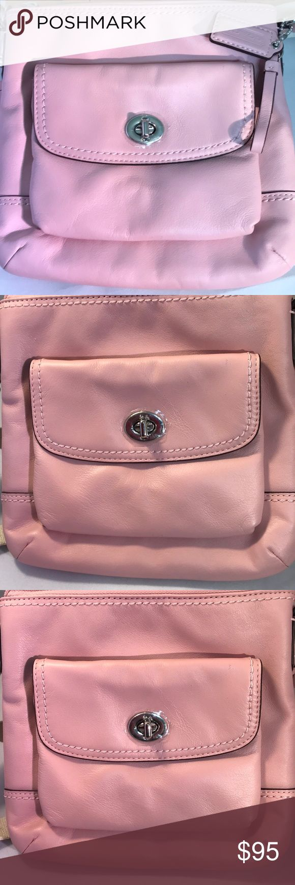 COACH CAMPBELL LEATHER SWING PACK PINK TULLE F511 This brand new Coach swingpack can be used as a crossbody as well.  This handbag is 100% authentic.  The hardware on the front is a turnlock pocket , silvertone color with a zipper closure.  On the inside there is a multifunction open pocket with the Coach care instruction card.  What a beautiful gift for yourself, friends or family.    This product has no flaws to mention.  It comes from a smoke free and pet free environment.  We are simply…