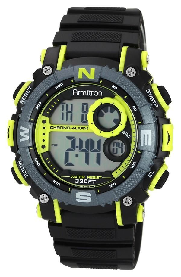 Go big: Armitron digital chronograph watch.