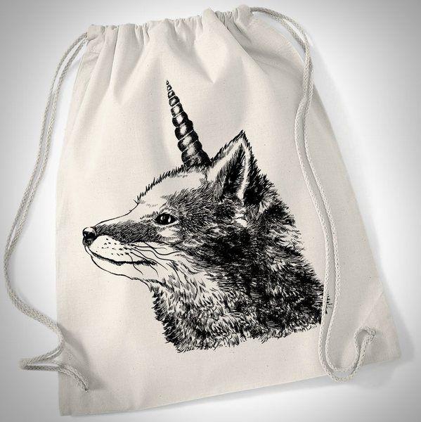 Turnbeutel - Fox + Unicorn = Foxcorn - ein Designerstück von prettysucks bei DaWanda