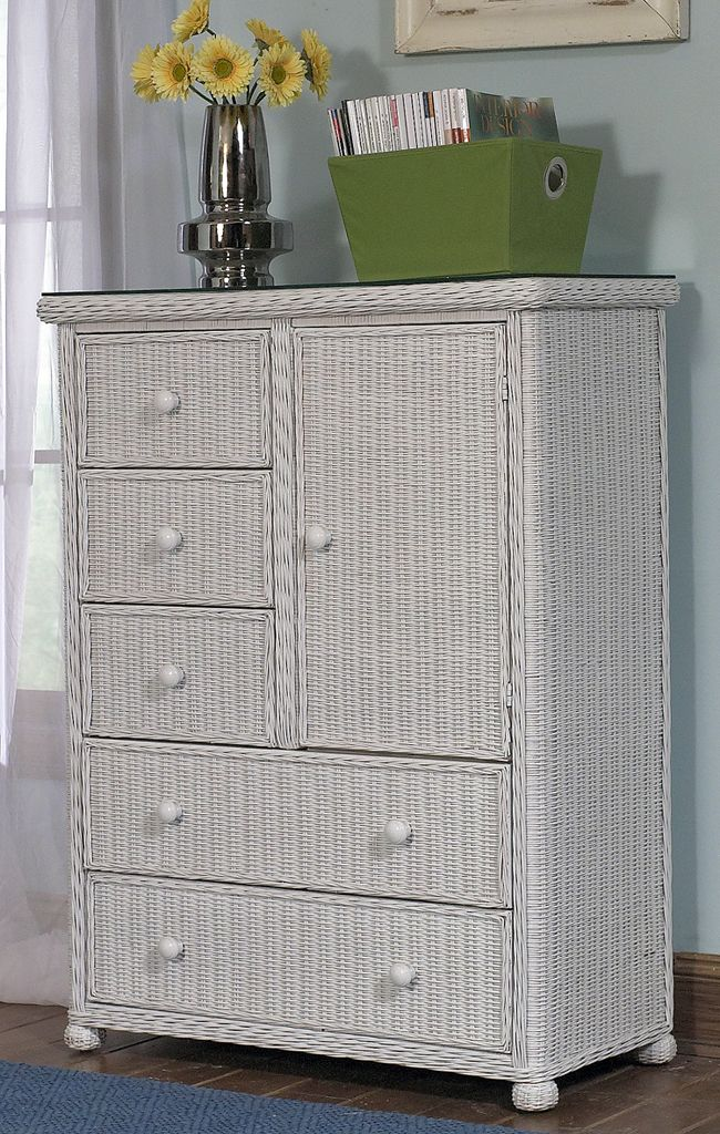 Elana 5 Drawer 1 Door Wicker Chest #white #wicker #furniture Pinned by wickerparadise.com
