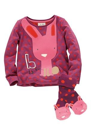 6-9 mth Buy Berry Appliqué Bunny Top And Spotty Tights Set (3mths-6yrs) from the Next UK online shop