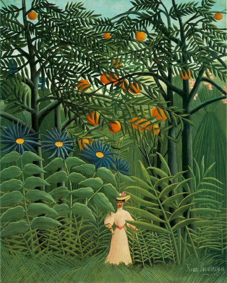 """Henri Rousseau - Most of his jungle paintings have dark elements. I'd like somehow to find quality artwork """"like Rousseau, but less threatening""""....."""