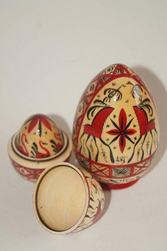 Nesting egg matryoshka egg 5 in 1 Mezen painting by RussianStore