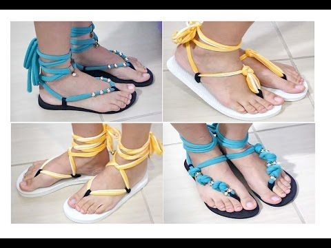DIY: Remake flip flops into cute sandals (skip to 1:23 to avoid the preliminary Brazilian chit chat)
