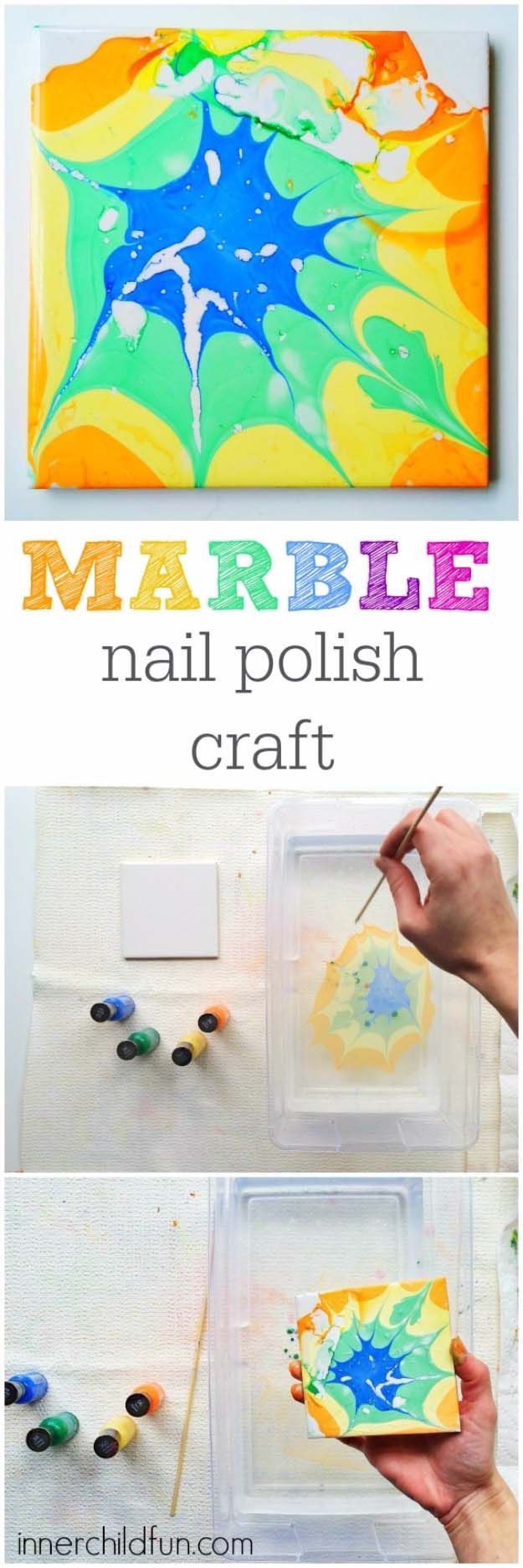 DIY Crafts Using Nail Polish - Fun, Cool, Easy and Cheap Craft Ideas for Girls, Teens, Tweens and Adults |     Marble Nail Polish Craft