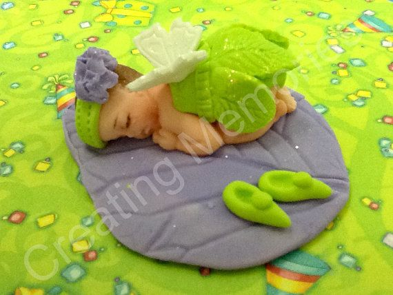 Fairy Baby /Edible Cake Toppers Made of Vanilla Fondant and gumpaste, BABY SHOWER, First Birthday boy or girl, Christening, Cake Supplies