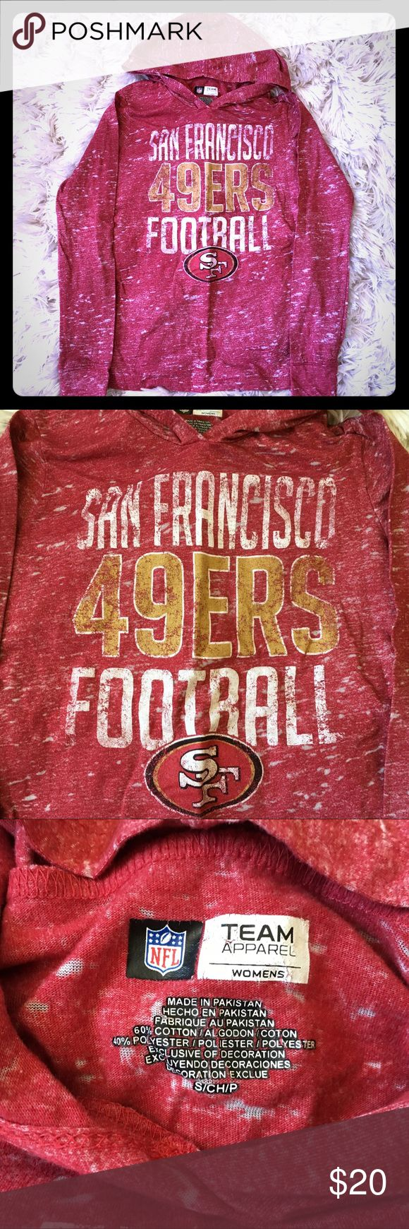 SF NINERS women's hooded long sleeve Excellent worn condition, no holes or stains. Women's size Small Tops Tees - Long Sleeve