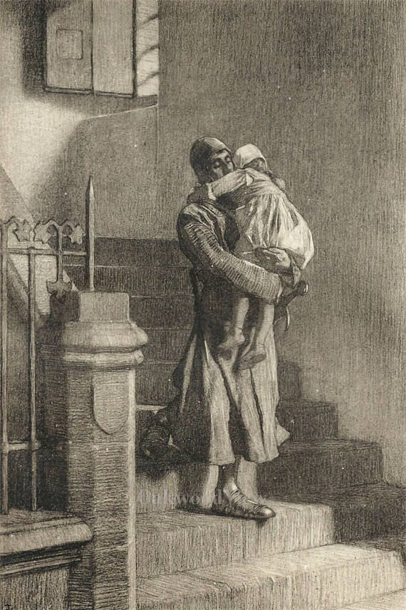 Giacomino & His Ward by Tito Lessi, Antique 10x12 Sepia Engraving c1890s, From The Decameron by Giovanni Boccaccio, FREE SHIPPING $11.75